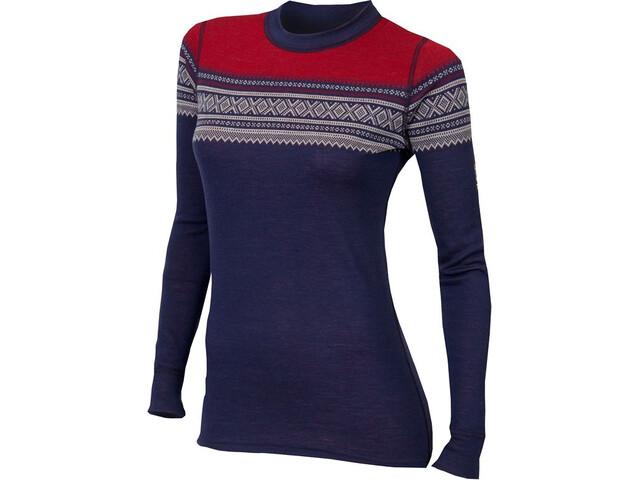Aclima DesignWool Marius Crew Neck Shirt Dame patriot blue/nature/tango red